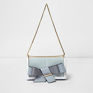 Blue bow front foldover clutch chain bag