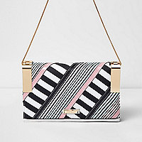 White stripe print panel clutch chain bag