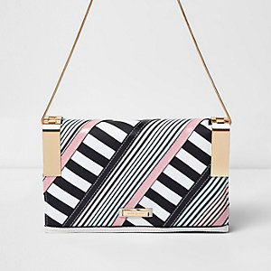White stripe print panel clutch chain bag