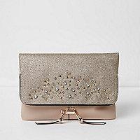 Beige stud embellished foldover clutch bag