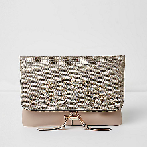 Beige stud embellished foldover clutch bag