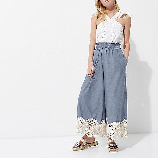 Petite blue lace hem culottes