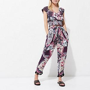 Petite – Pantalon imprimé fleuri violet avec ourlet à franges