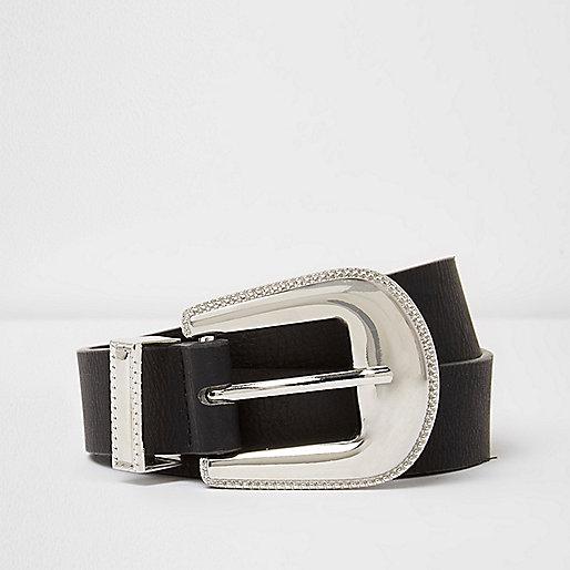 Black silver tone western buckle belt