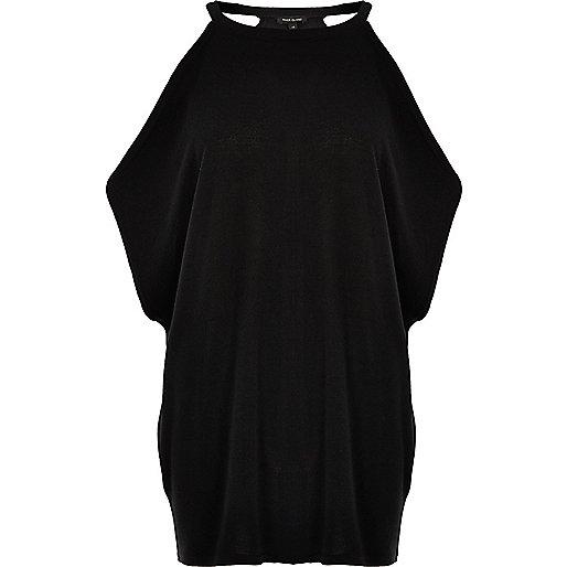 Black knit cold shoulder batwing top