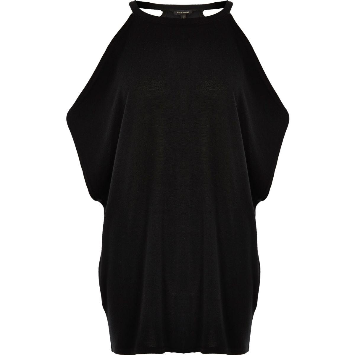 Zwarte schouderloze top met vleermuismouwen