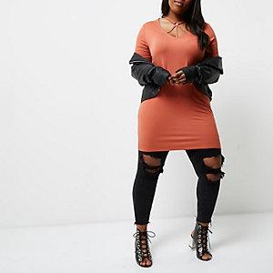 T-shirt Plus oversize orange à encolure style harnais