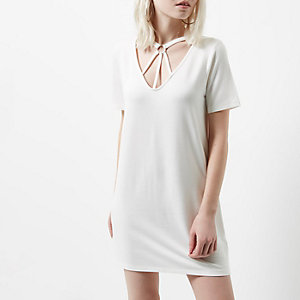 Petite white harness neck oversized T-shirt