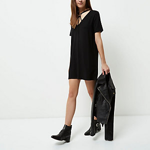 Petite black harness neck oversized T-shirt