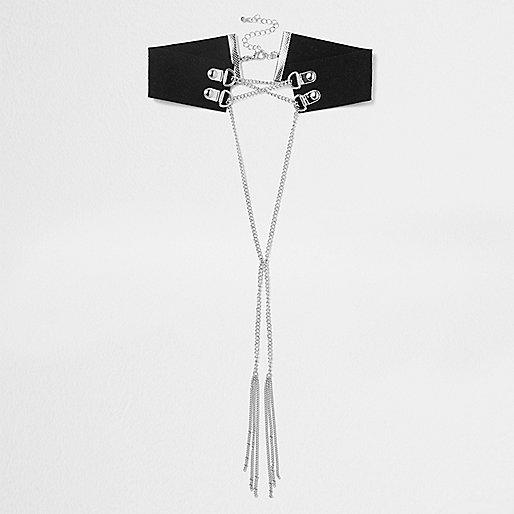 Black suede silver tone chain corset choker
