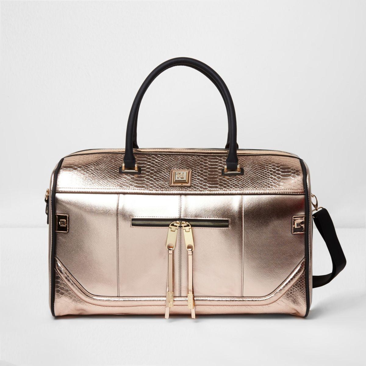 Rose gold metallic weekend bag