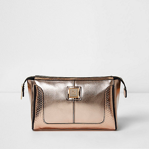Rose gold metallic make-up bag