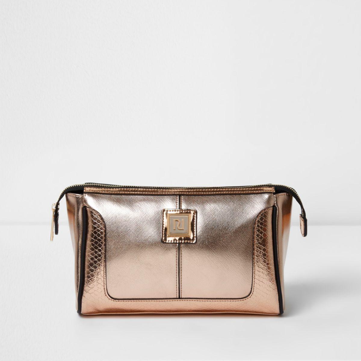 Rose gold metallic make-up bag