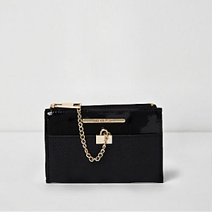 Black mini chain zip top purse