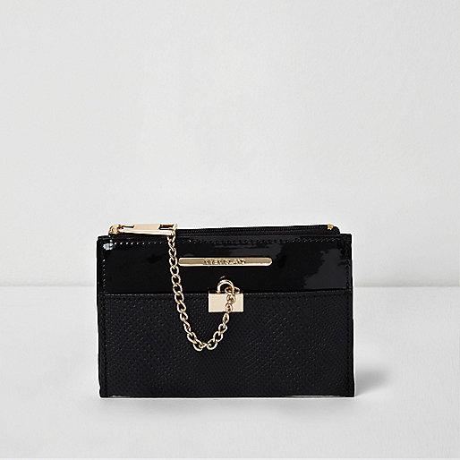 Black mini chain zip top purse