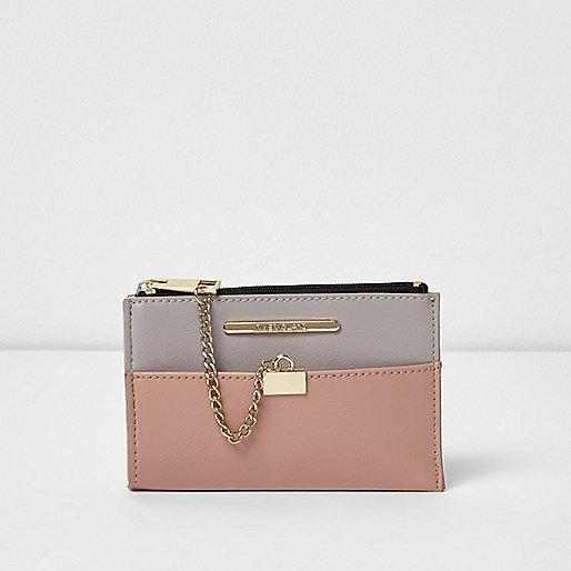 Pink and grey panel mini chain purse