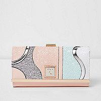Pink glitter wave clip top foldover purse