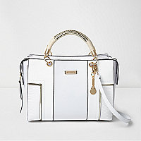 White rope handle cross body tote bag