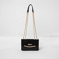 Zwarte onderarmtas met dubbele ketting