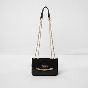 Black underarm double chain bag