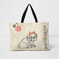 Beige pom pom dog print shopper bag