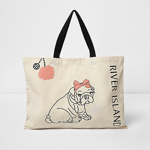 Beige Shopper-Tasche mit Bommeln und Hundemotiv