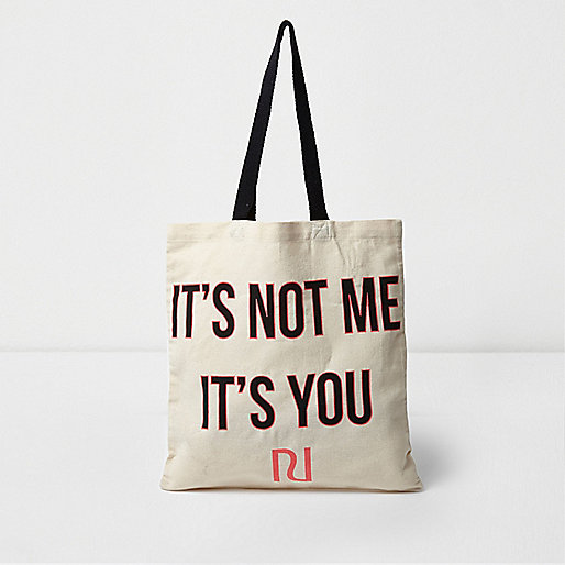 Beige 'it's not me it's you' shopper tote bag
