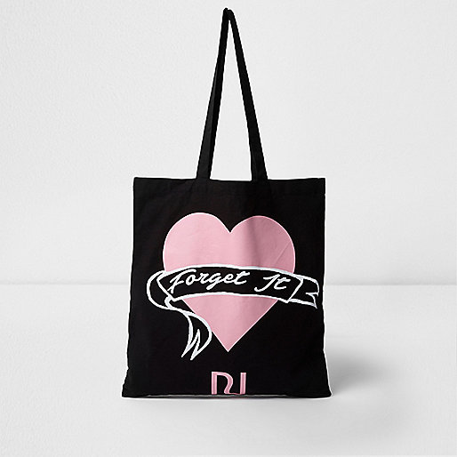 Black 'forget it' print shopper tote bag