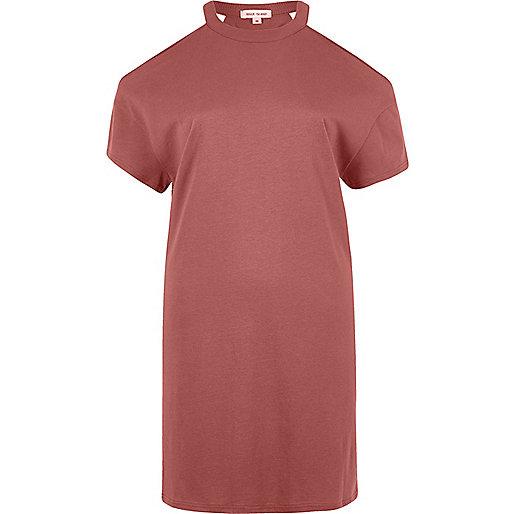 Pink slashed cold shoulder oversized T-shirt