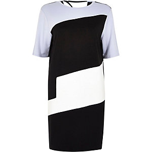 Blue color block T-shirt dress