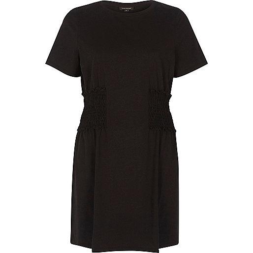 Black shirred longline T-shirt