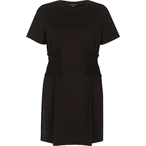 Black shirred longline T-shirt