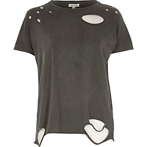 Dunkelgraues T-Shirt im Used-Look