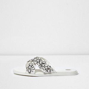 White wide fit embellished sandals