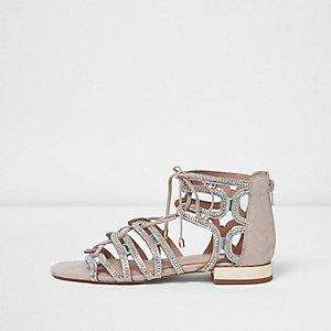 Roze verfraaide sandalen met vetersluiting