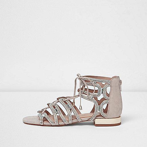 Pink embellished tie up sandals