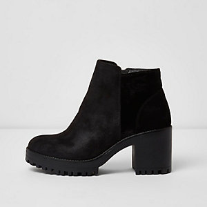 Black suede look chunky heel ankle boots