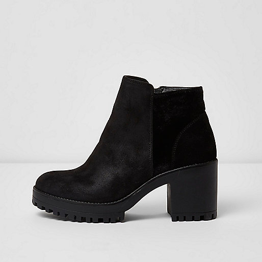 Black suede look chunky heel ankle boots - shoes / boots - sale ...