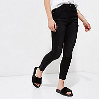 Petite black distressed Harper jeggings