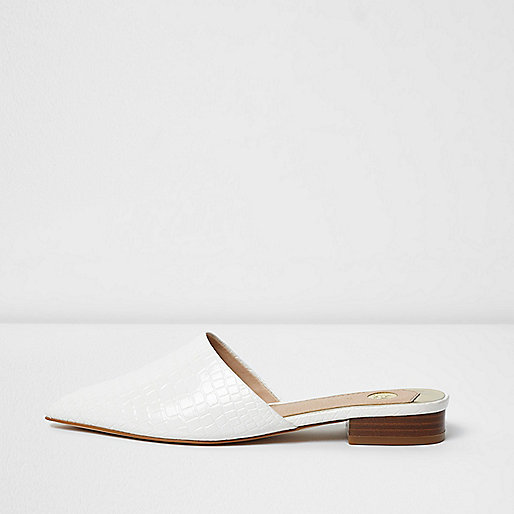 White croc embossed backless pointed shoes