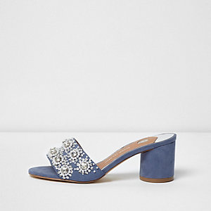 Blue diamante embellished block heel mules