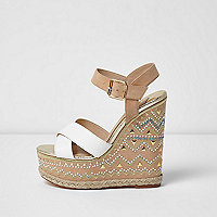 Light pink studded espadrille platform wedges