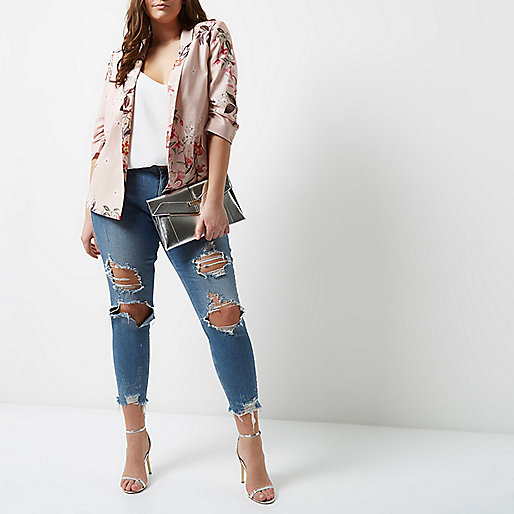 Plus pink floral print ruched sleeve blazer