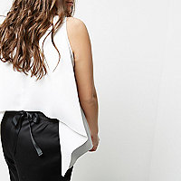 Plus white tie back sleeveless tank