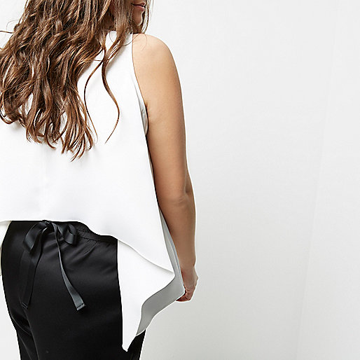 Plus white tie back sleeveless vest