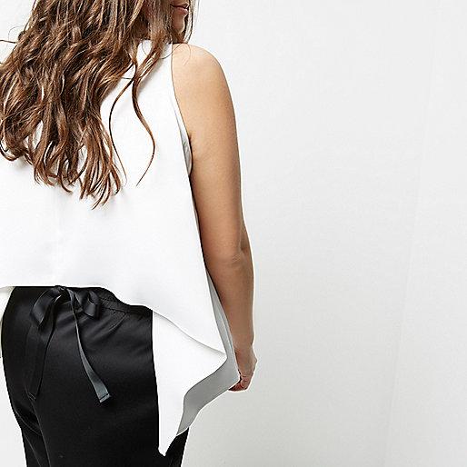 Plus white tie back sleeveless tank