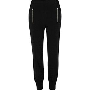 Black zip detail joggers