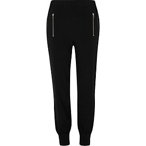 Black zip detail joggers