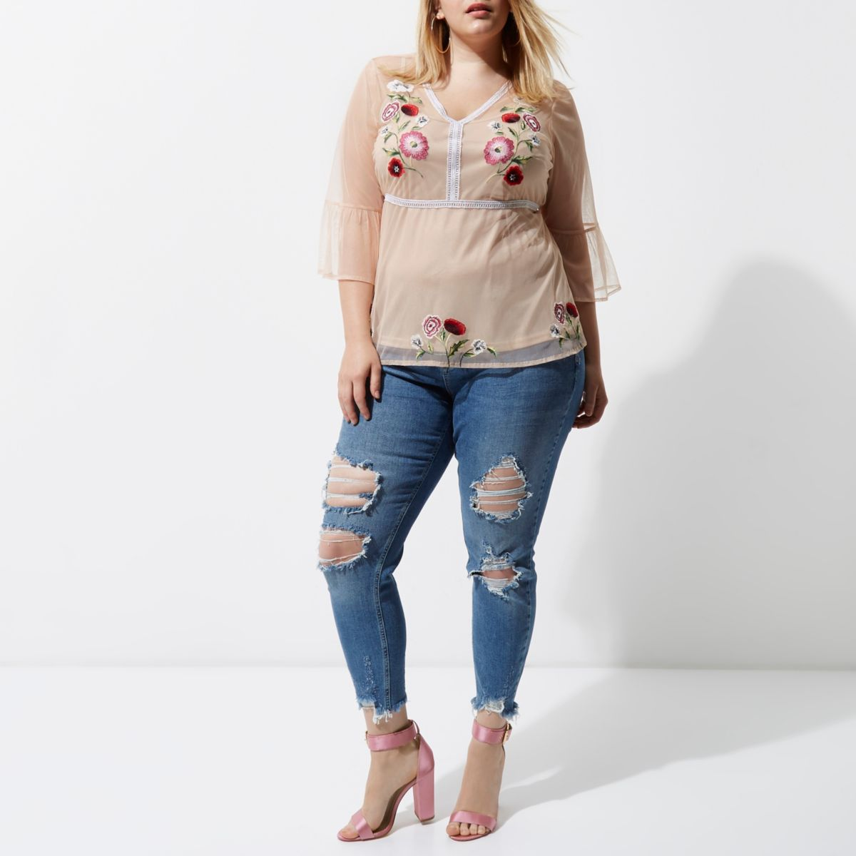 Plus light pink mesh embroidered top