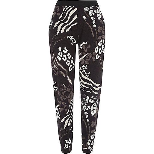 Pantalon de jogging imprimé animal noir